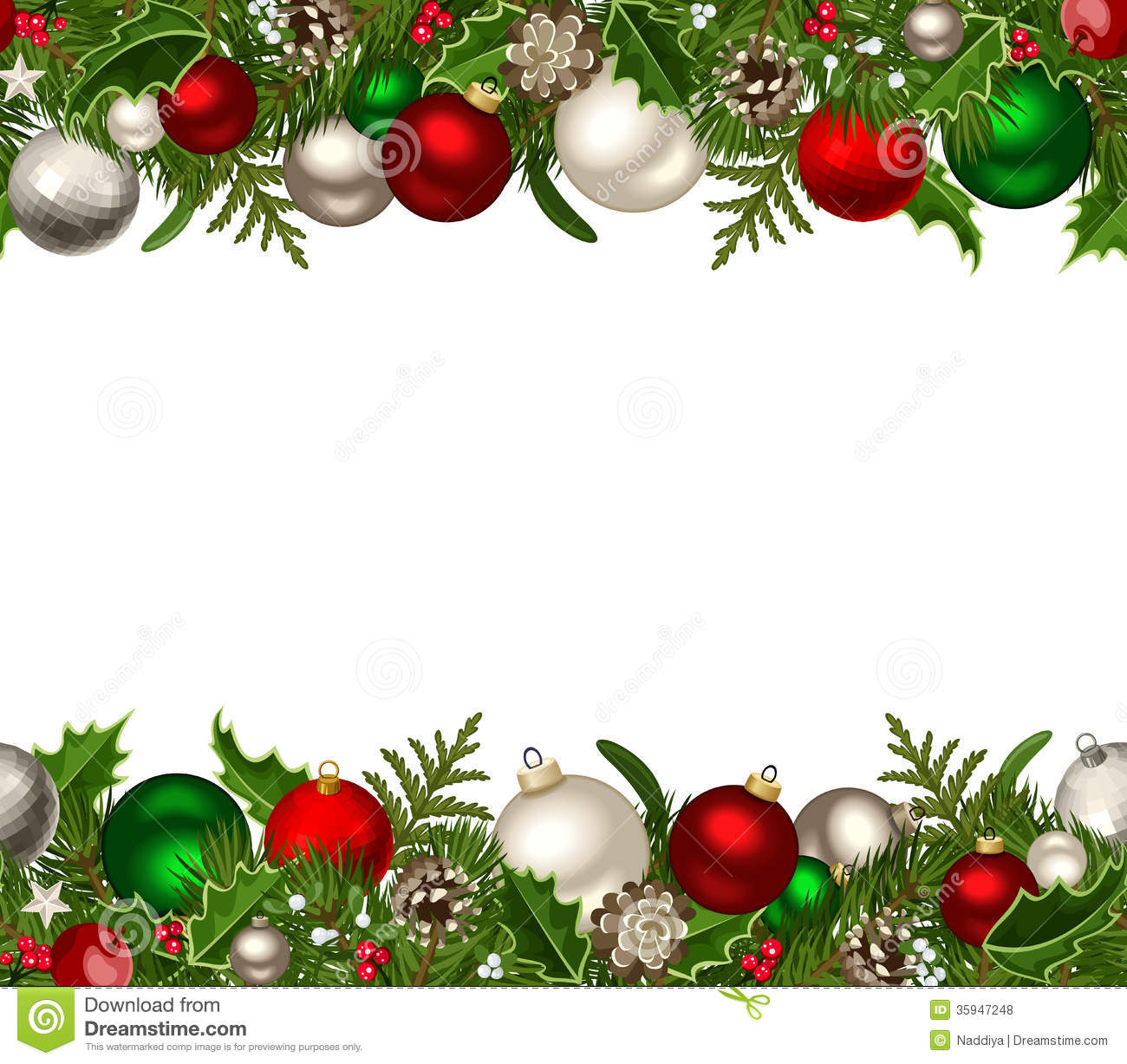 Christmas Horizontal Seamless Background With Red And Silver Balls