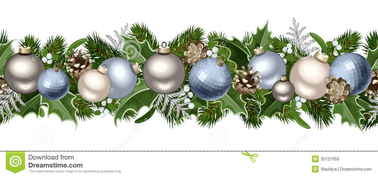 Christmas horizontal seamless garland stock vector