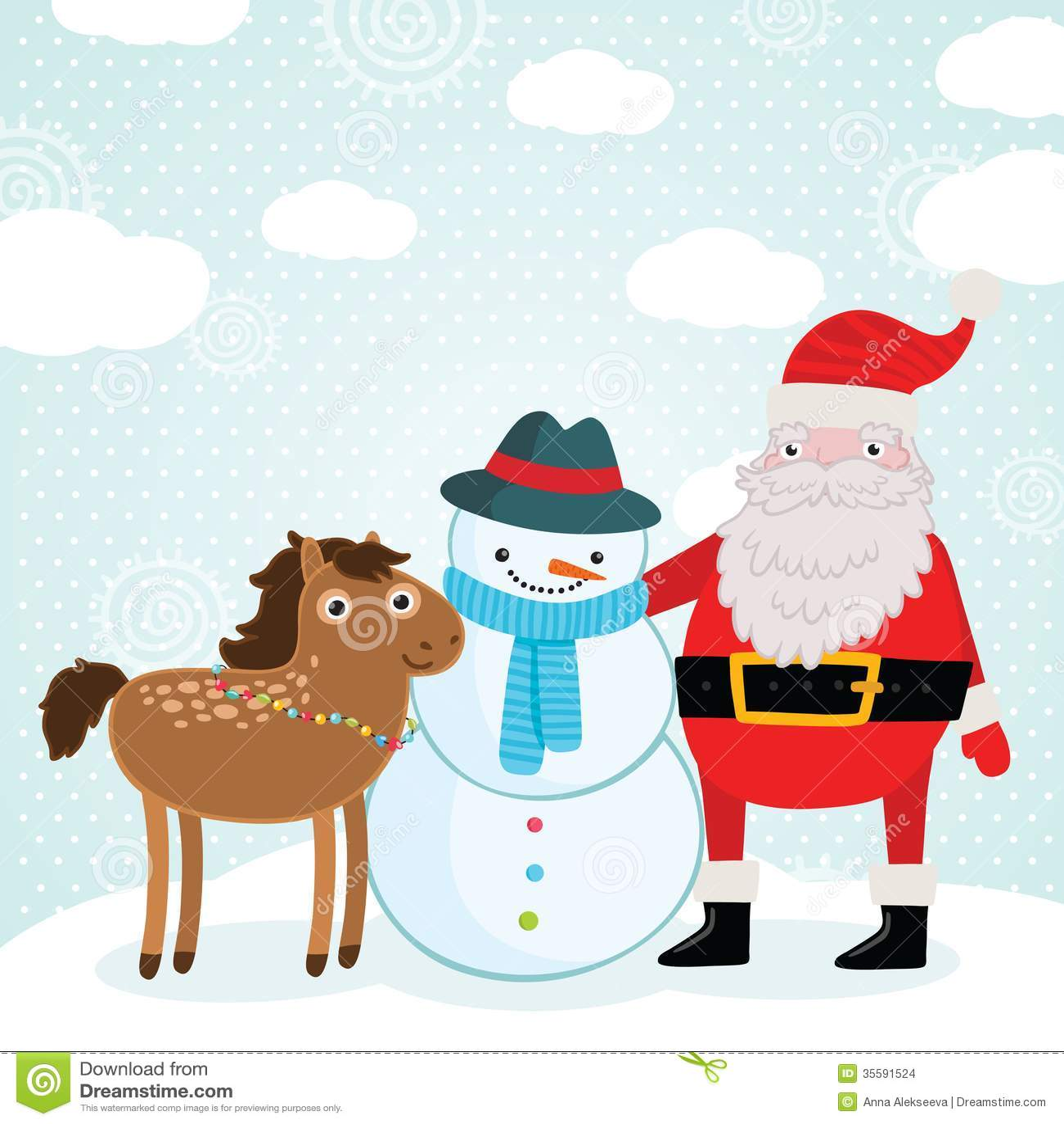 Christmas Horse Holiday Illustration Stock Vector Illustration Of Horse Element 35591524