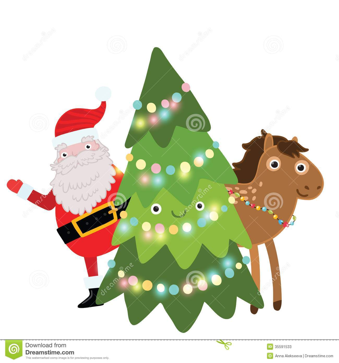 Christmas Horse Holiday Illustration Stock Vector Illustration Of Drawing Concept 35591533
