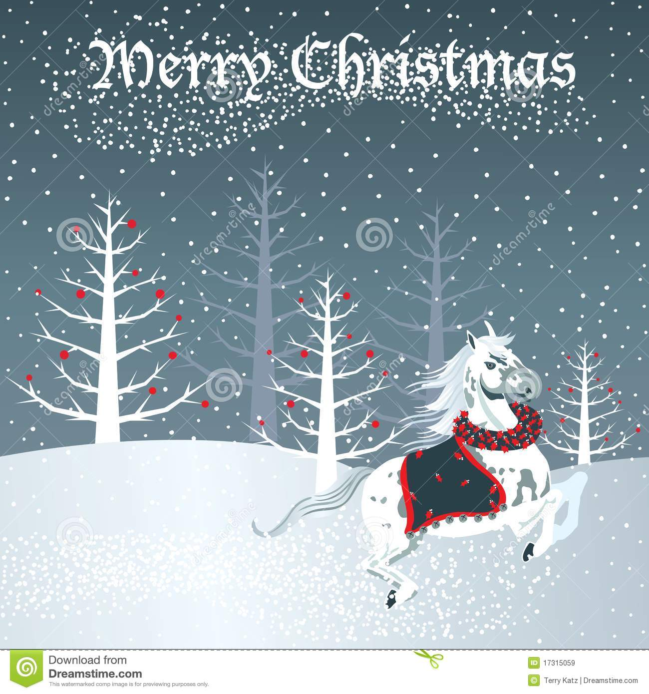 Christmas Horse With Snow Scene Stock Vector Illustration Of Galloping Trees 17315059