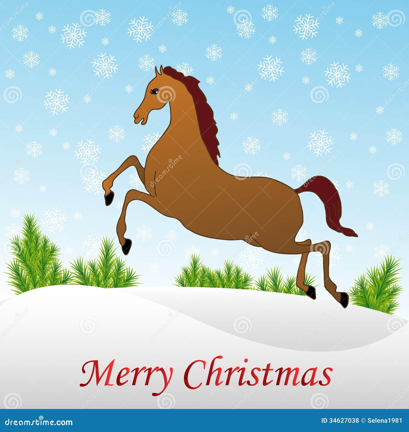 Christmas Horse In Snow Stock Vector Illustration Of Invitation 34627038
