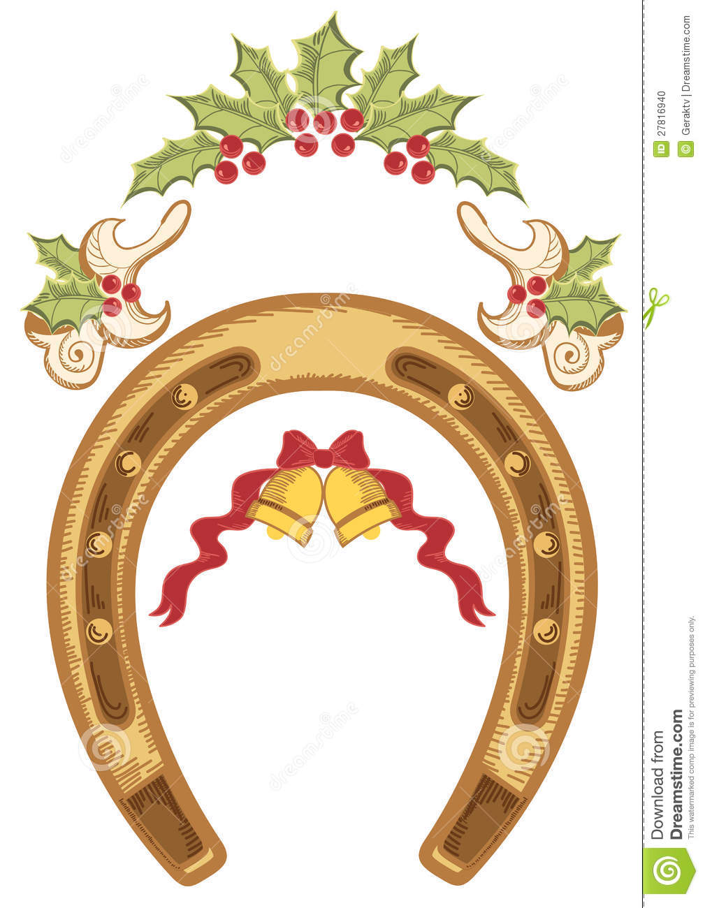 christmas horseshoe with holly berry leaves stock vector holly berry clip art black and white holly berry clip art free border