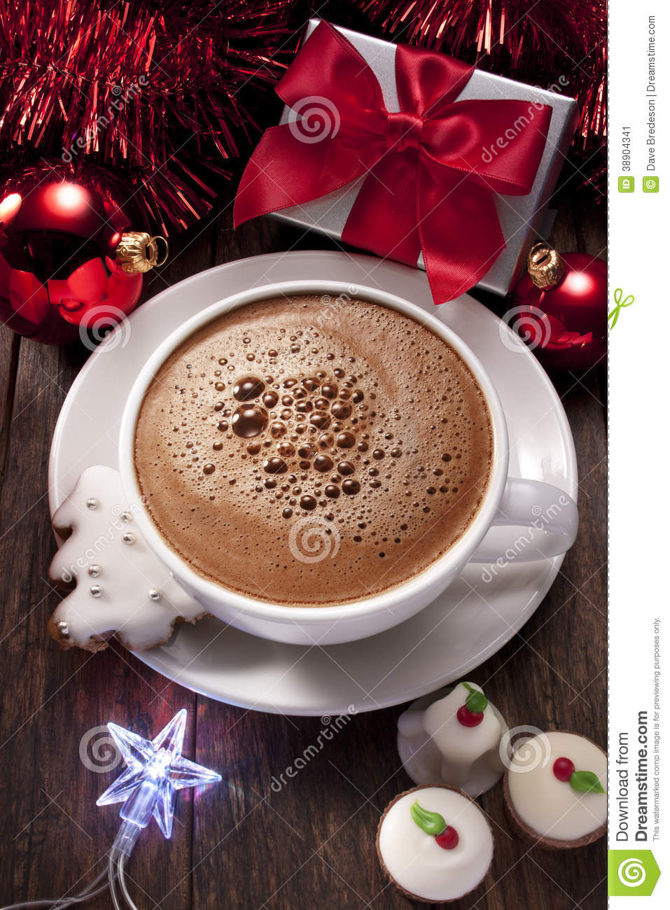 christmas hot chocolate stock image  image of cookies