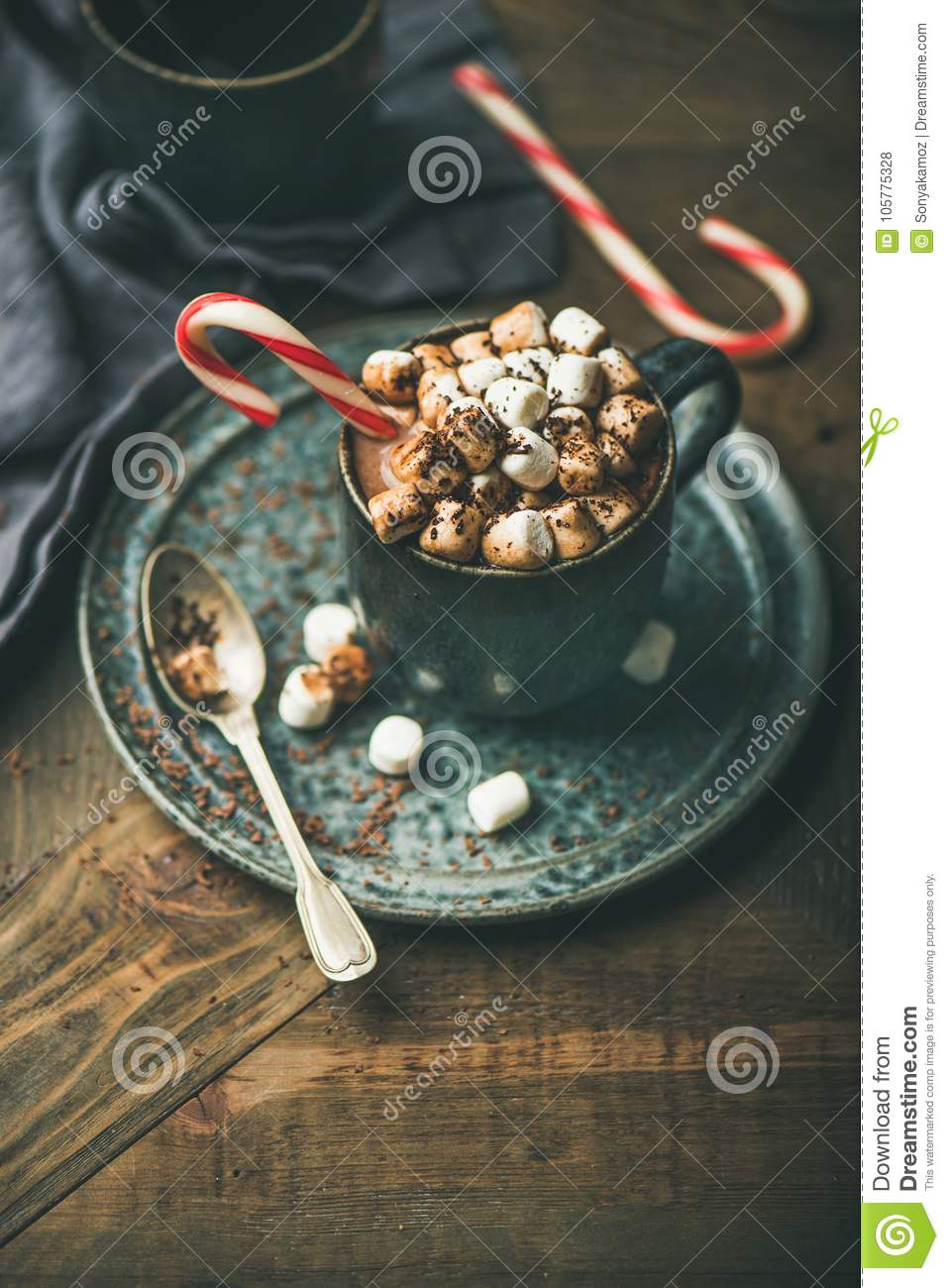 Christmas hot chocolate with marshmallows and cocoa, copy space
