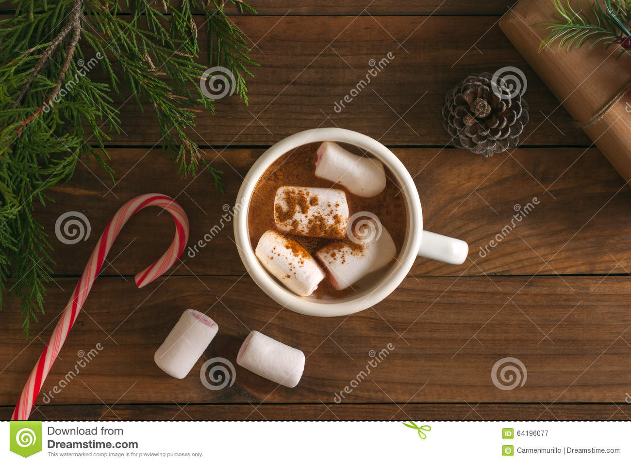 Christmas Hot Chocolate With Marshmallows And Xmas Ornaments Stock ...