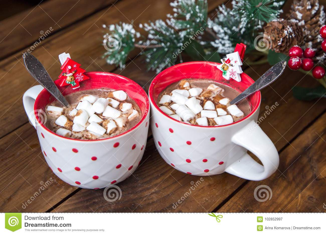 download christmas hot chocolate with marshmellow on old wooden background stock image image of holiday