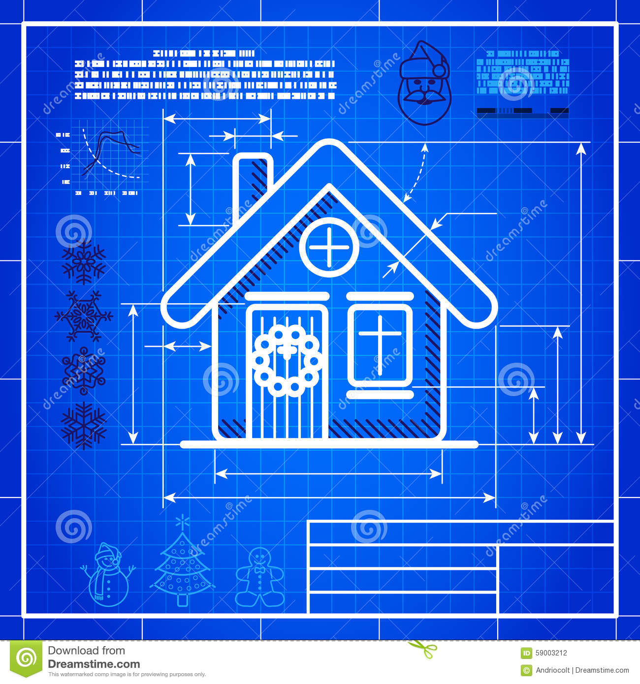 Christmas house icon like blueprint drawing stock vector for How to make a blueprint of a house