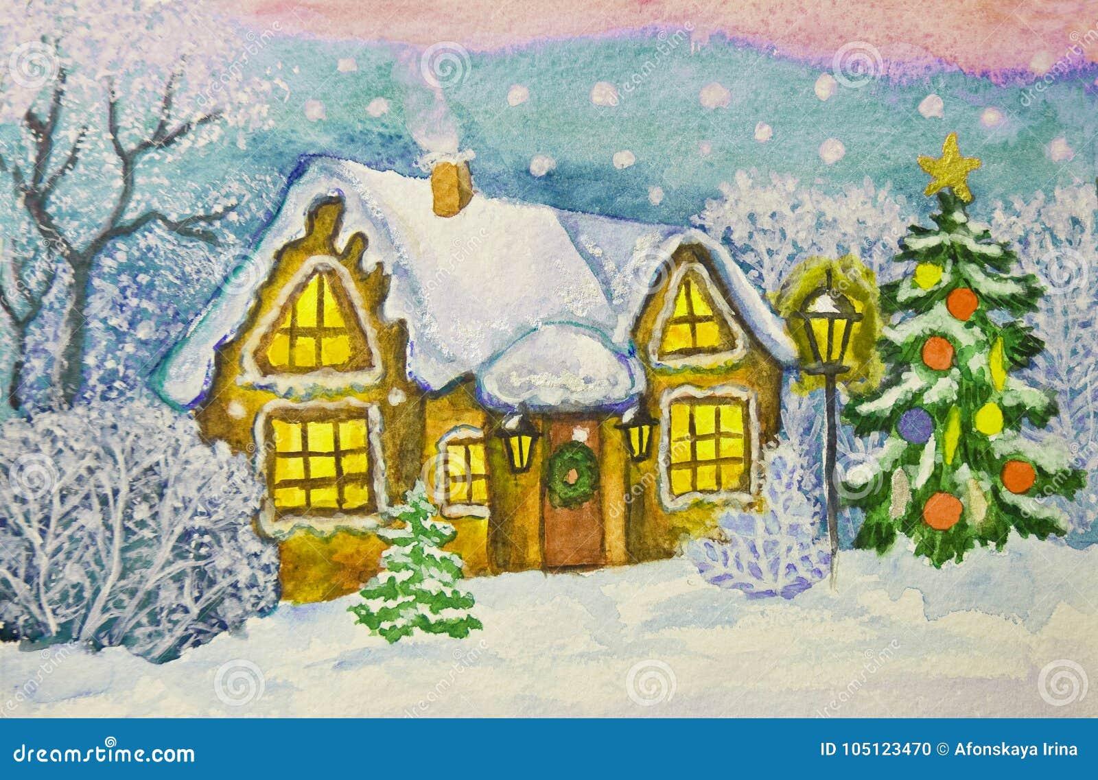 Christmas House Drawing.Christmas House Painting Stock Illustration Illustration