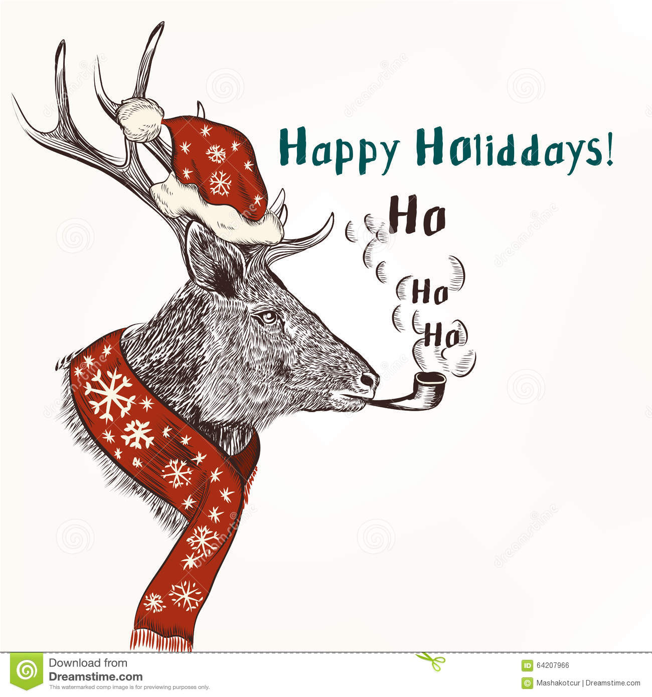 Christmas Humor Background With Smoke Deer In Red Scarf And Hat ...