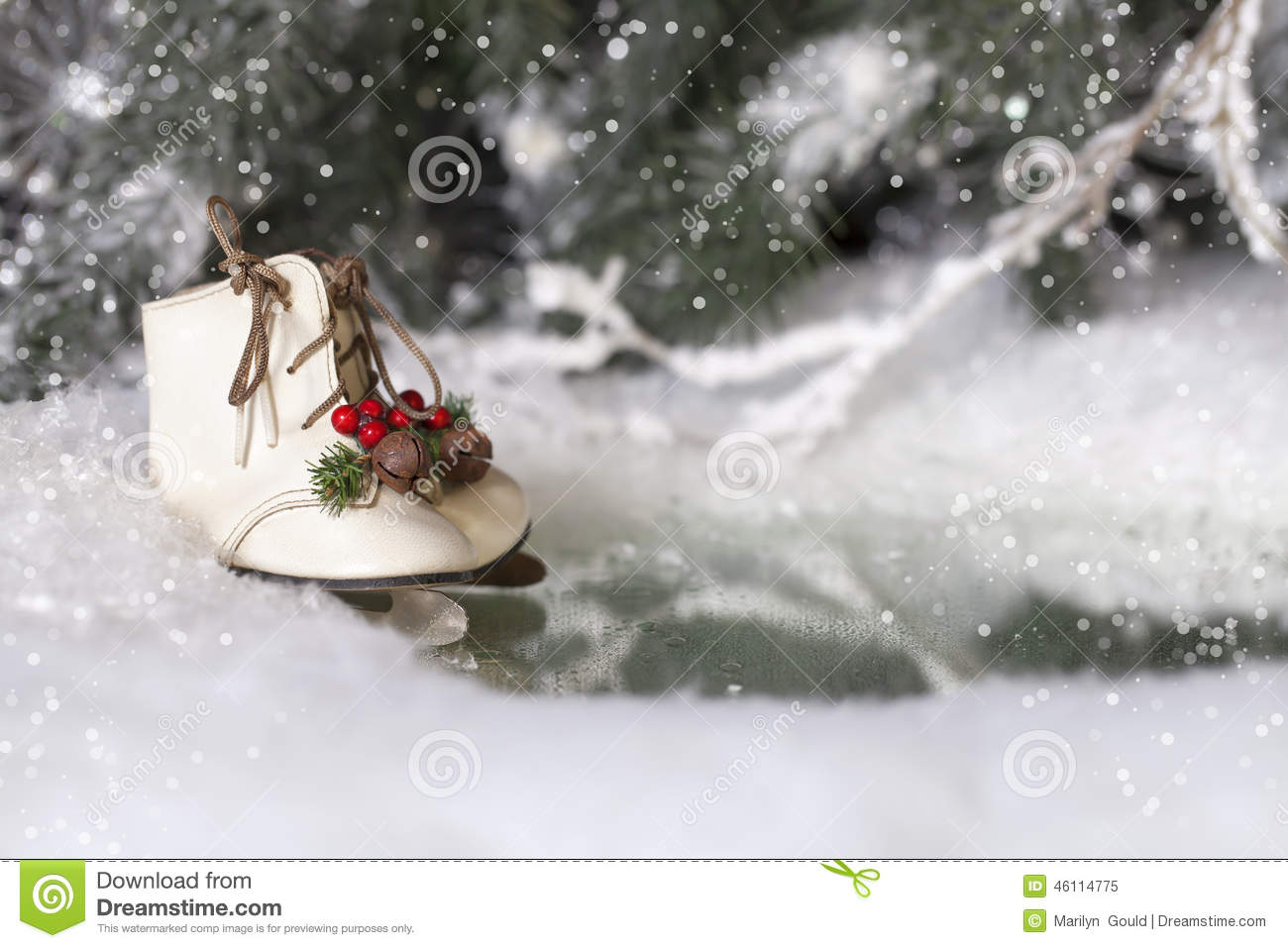 Christmas ice skates stock photo image 46114775 for Glace decoration