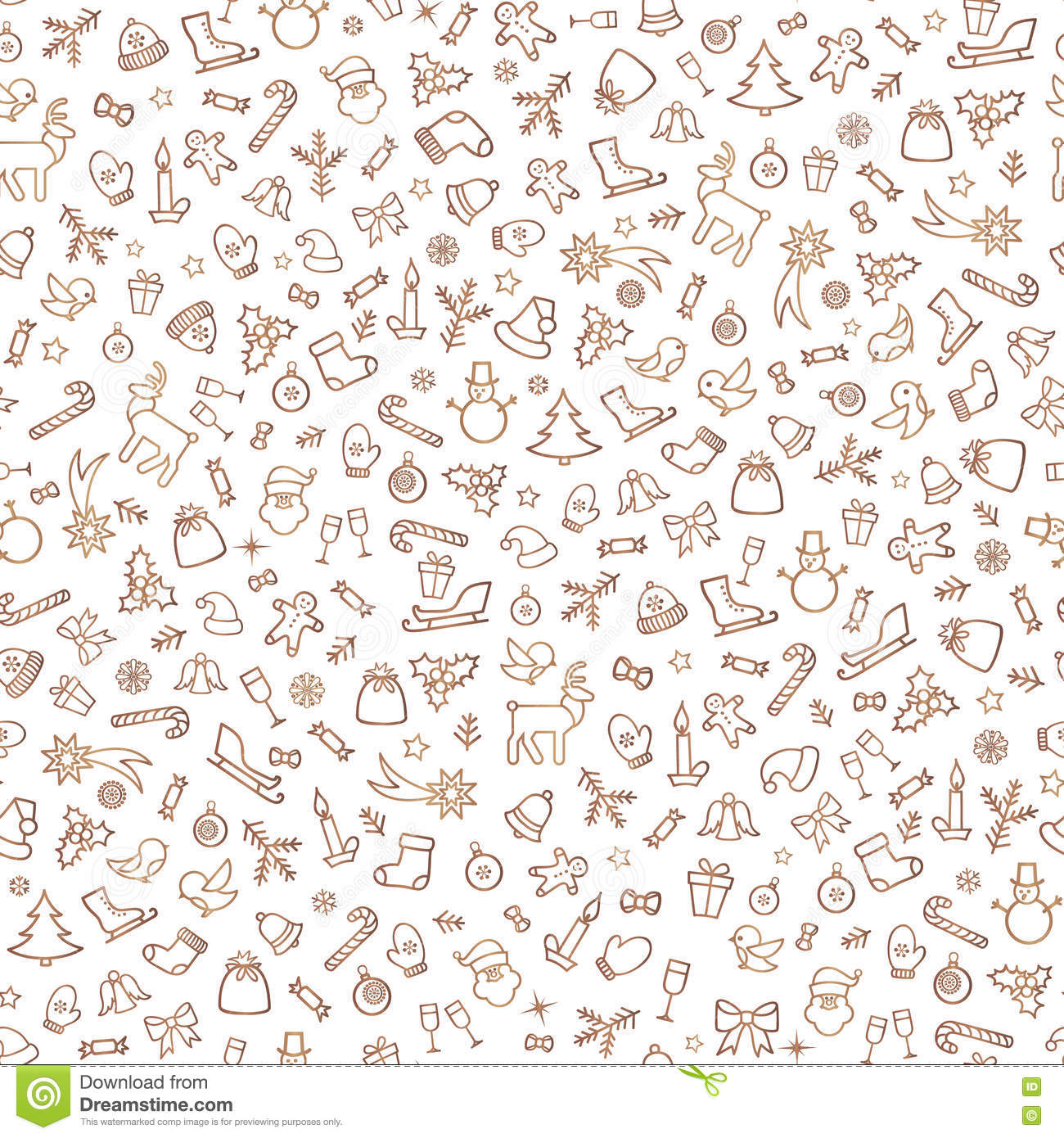 christmas icon seamless pattern happy winter holiday tile