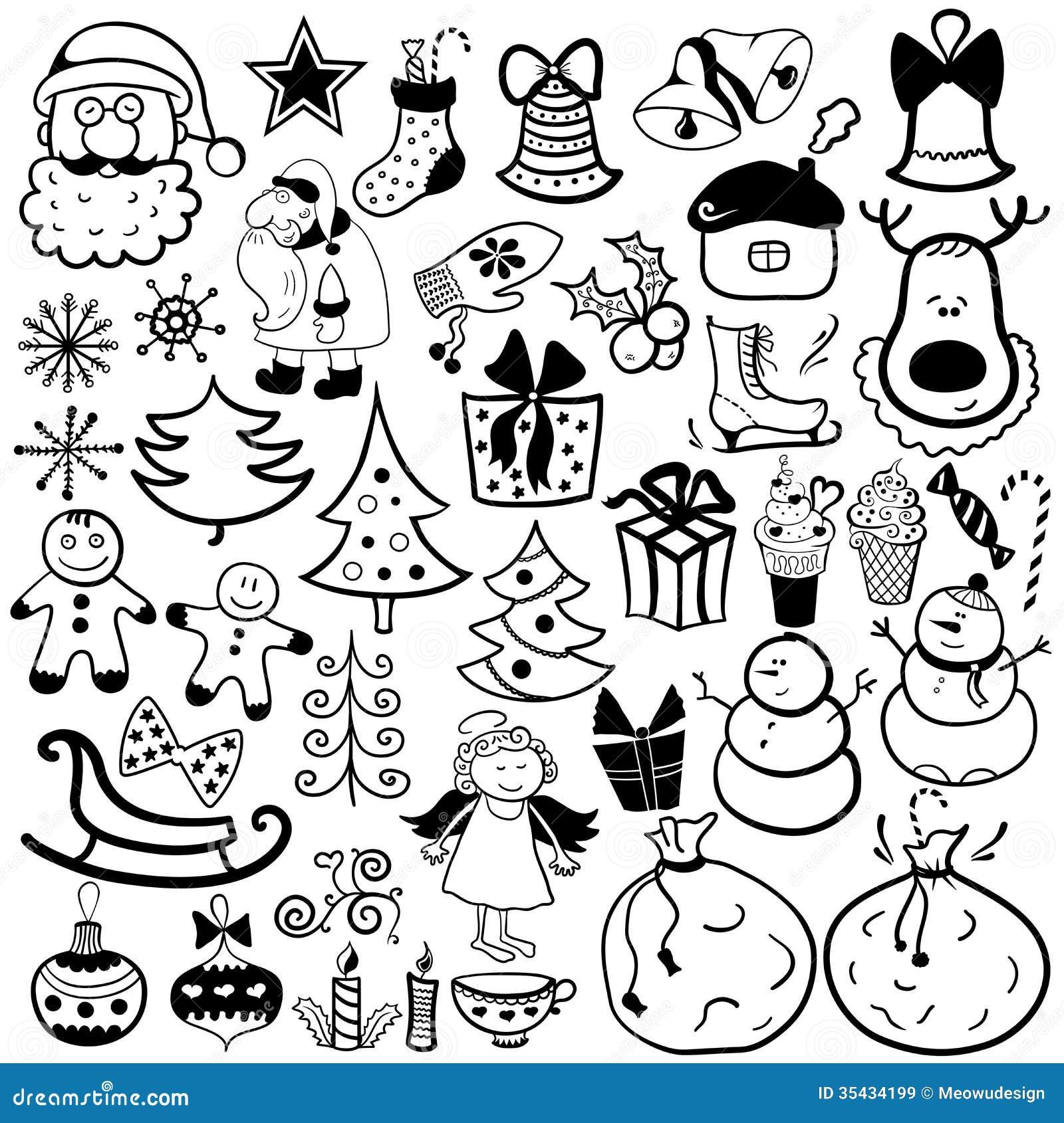 Christmas Icon Set, Black And White Element Stock ...