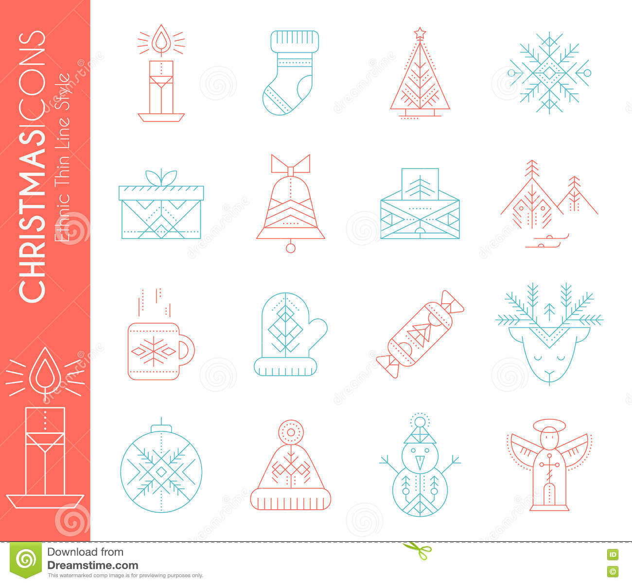 Christmas icon set. Collection of creative line style design elements