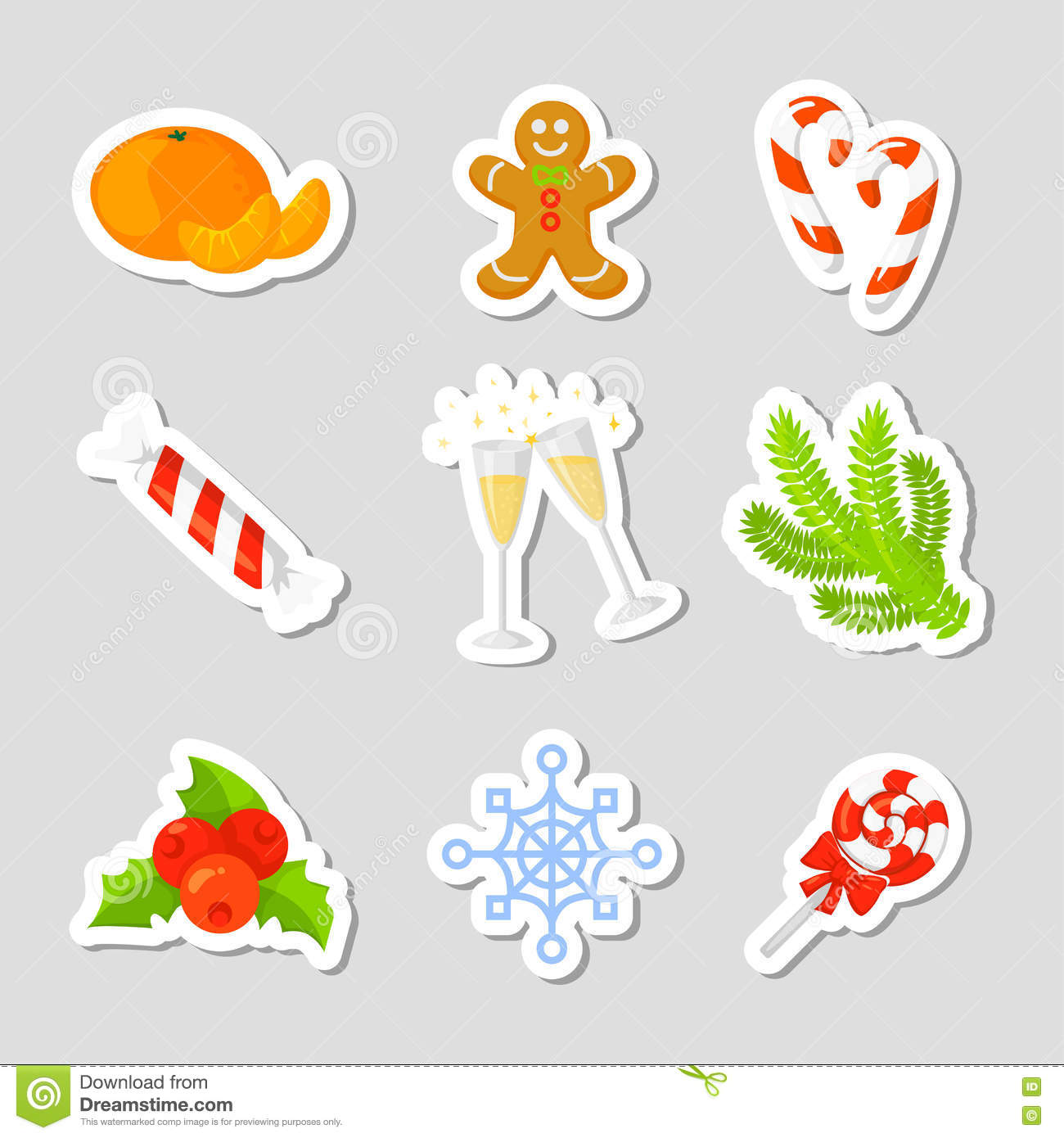 christmas icon set collection vector cartoon new year traditional symbols icons objects