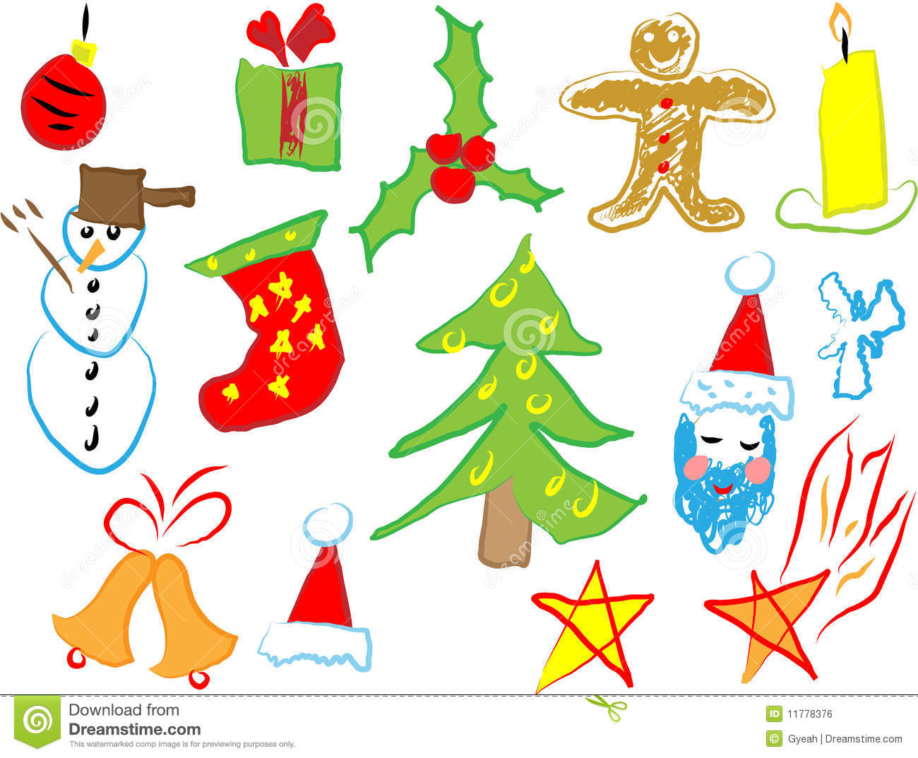 Christmas Icons Draw By A Child Royalty Free Stock Image Image 11778376