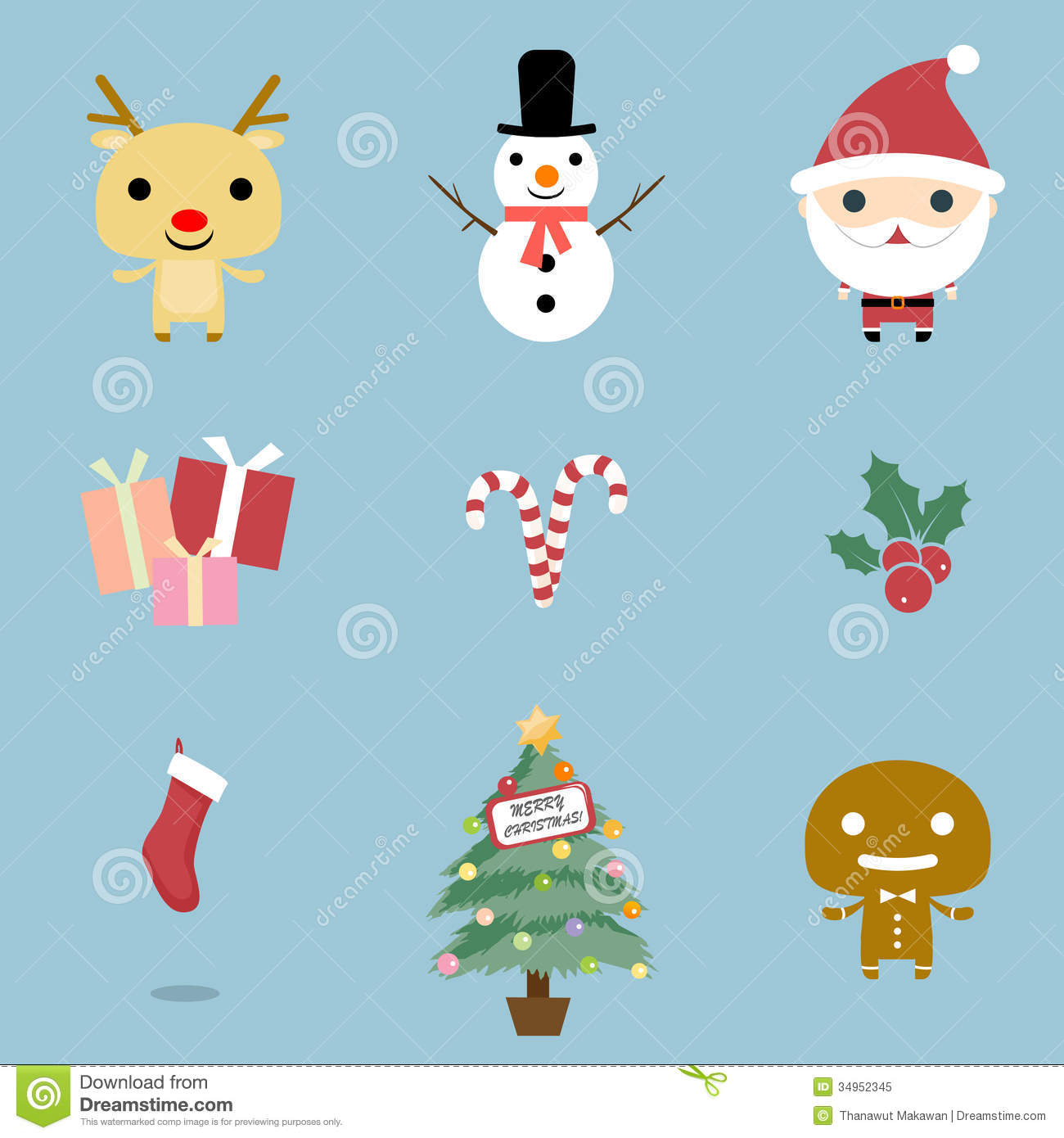 Christmas Illustrations.Christmas Icons Set Stock Vector Illustration Of Creative