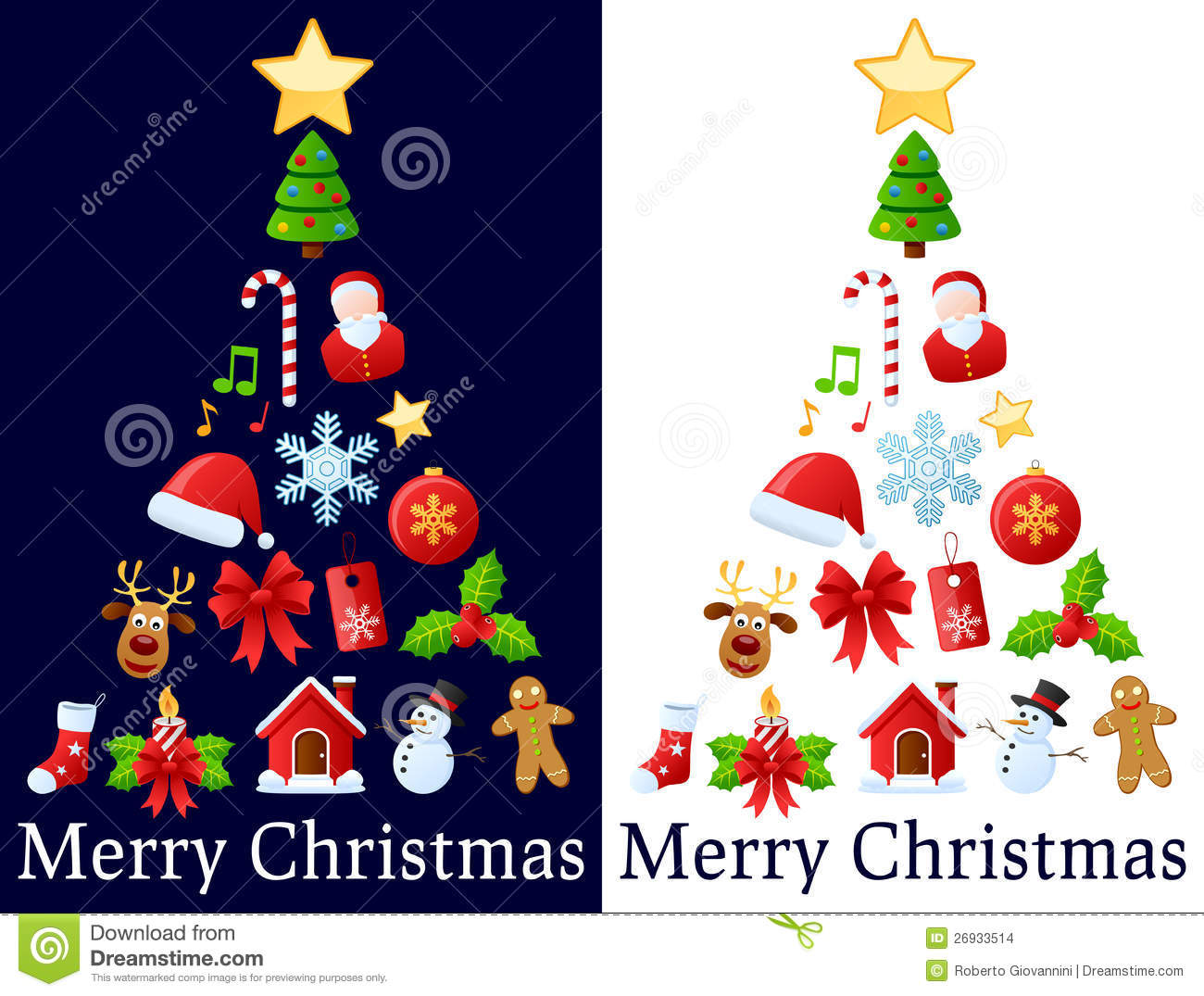 Christmas Icons Tree A Made Up Of Colorful Icon Ornaments Isolated On