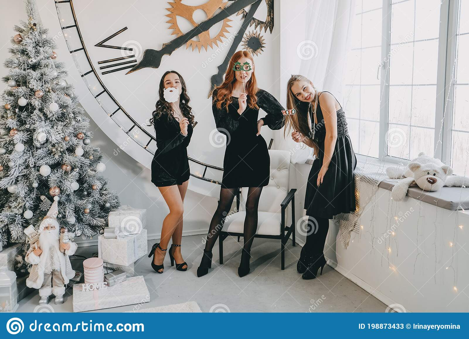 Christmas Ideas On Lockdown Christmas Celebration New Year Eve Party Festive Family Get Togethers And Parties Three Stock Image Image Of Dresses Group 198873433