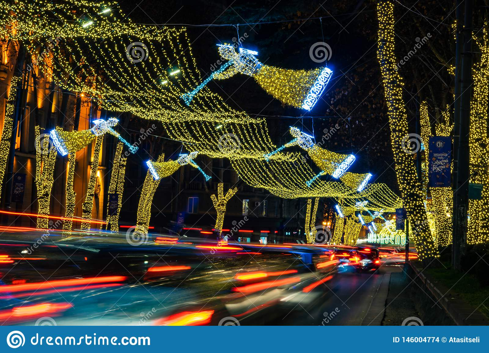 Christmas In Georgia Tbilisi.Christmas Illumination In Tbilisi Georgia Stock Photo