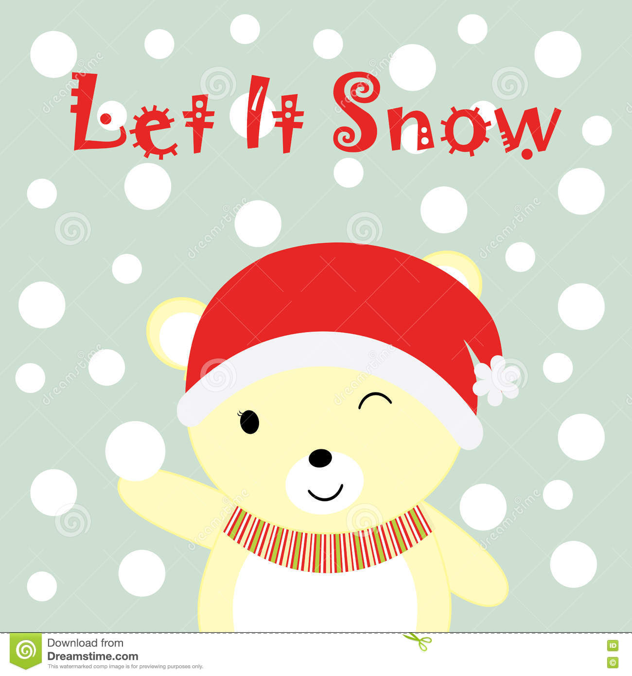 Download Christmas Illustration With Cute Baby Bear And Snows Suitable For Xmas Greeting Card Wallpaper