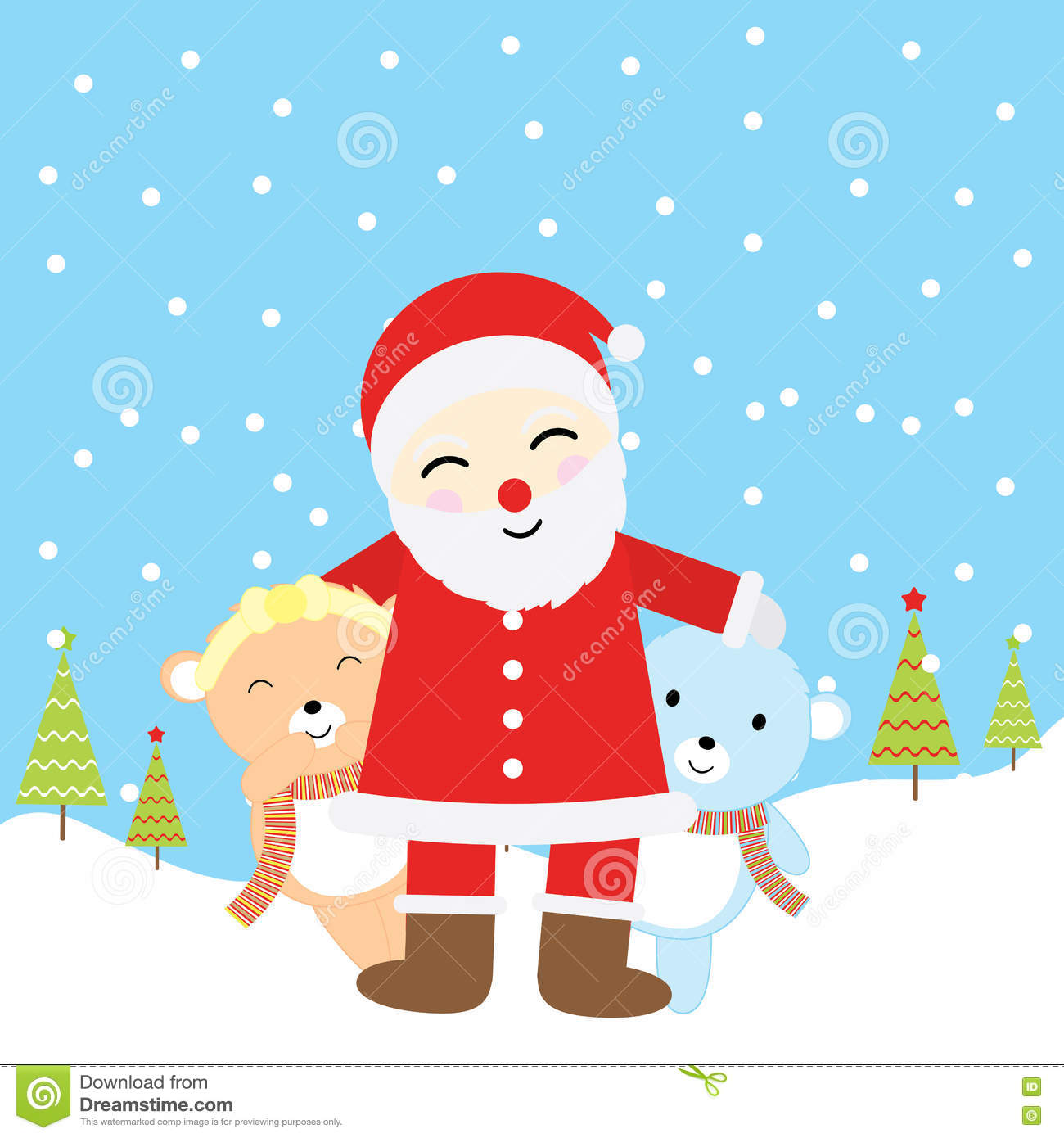 Christmas Illustration With Cute Baby Bears And Santa Claus Suitable For Xmas Greeting Card Wallpaper