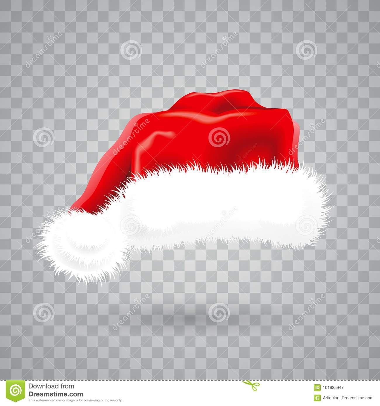 Transparent Christmas Hat.Christmas Illustration With Red Santa Hat On Transparent