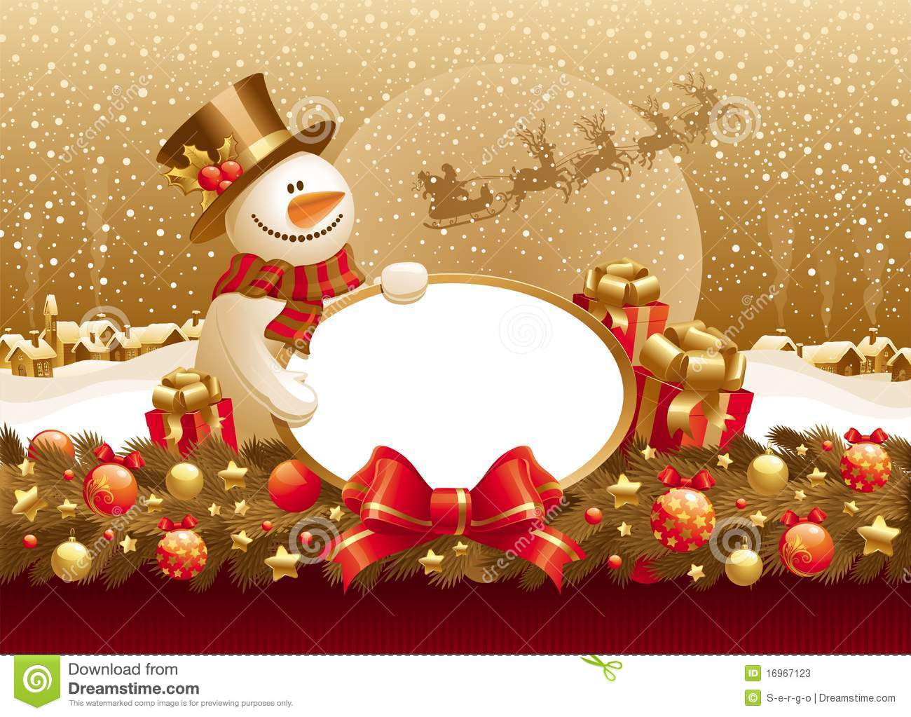 christmas illustration with snowman, gift & frame stock vector