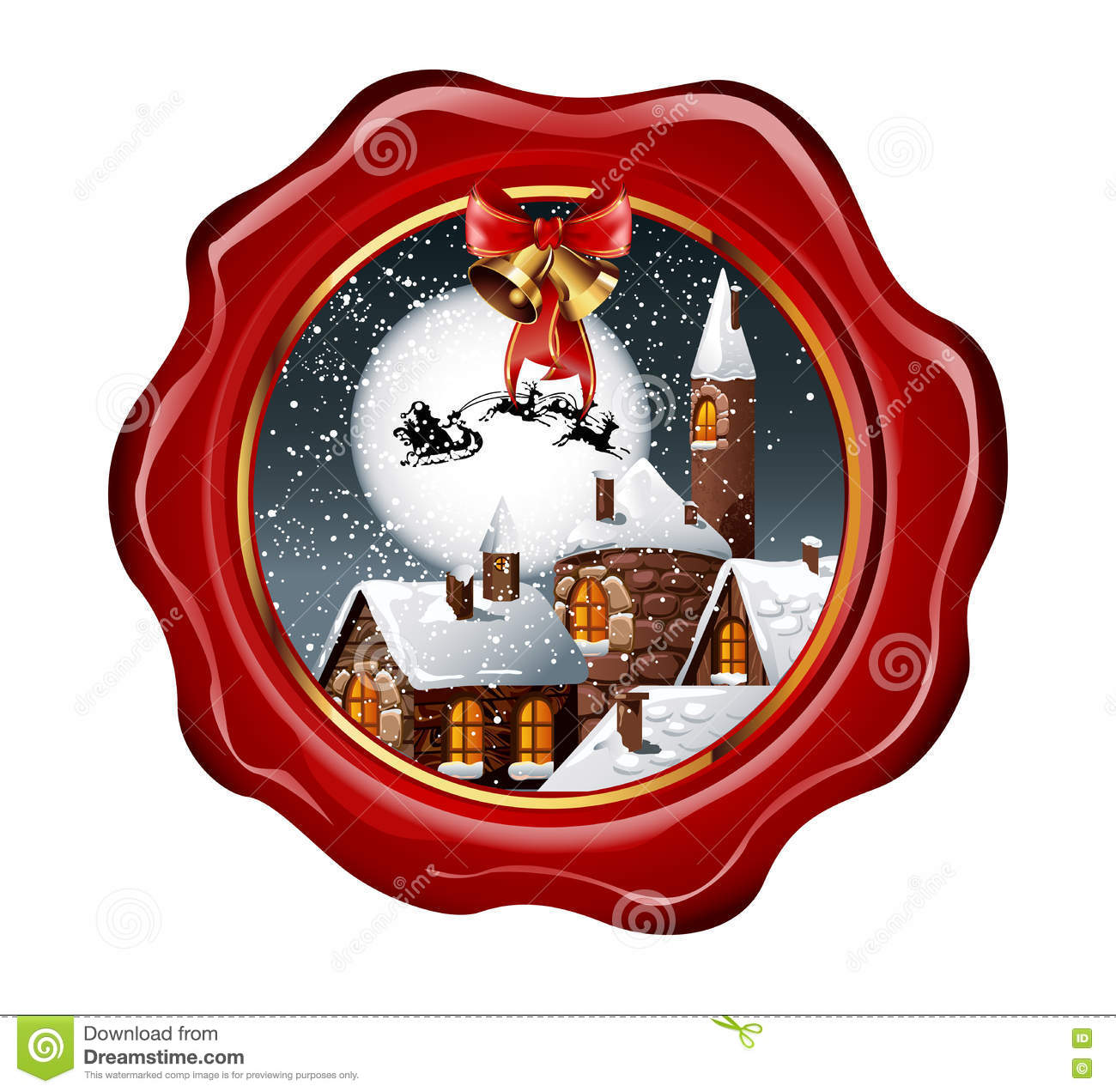 ed43884a1c Christmas illustration of wax seal with snowy town and santa claus flying  on his sleigh on the nighty skies. Vector Illustration.