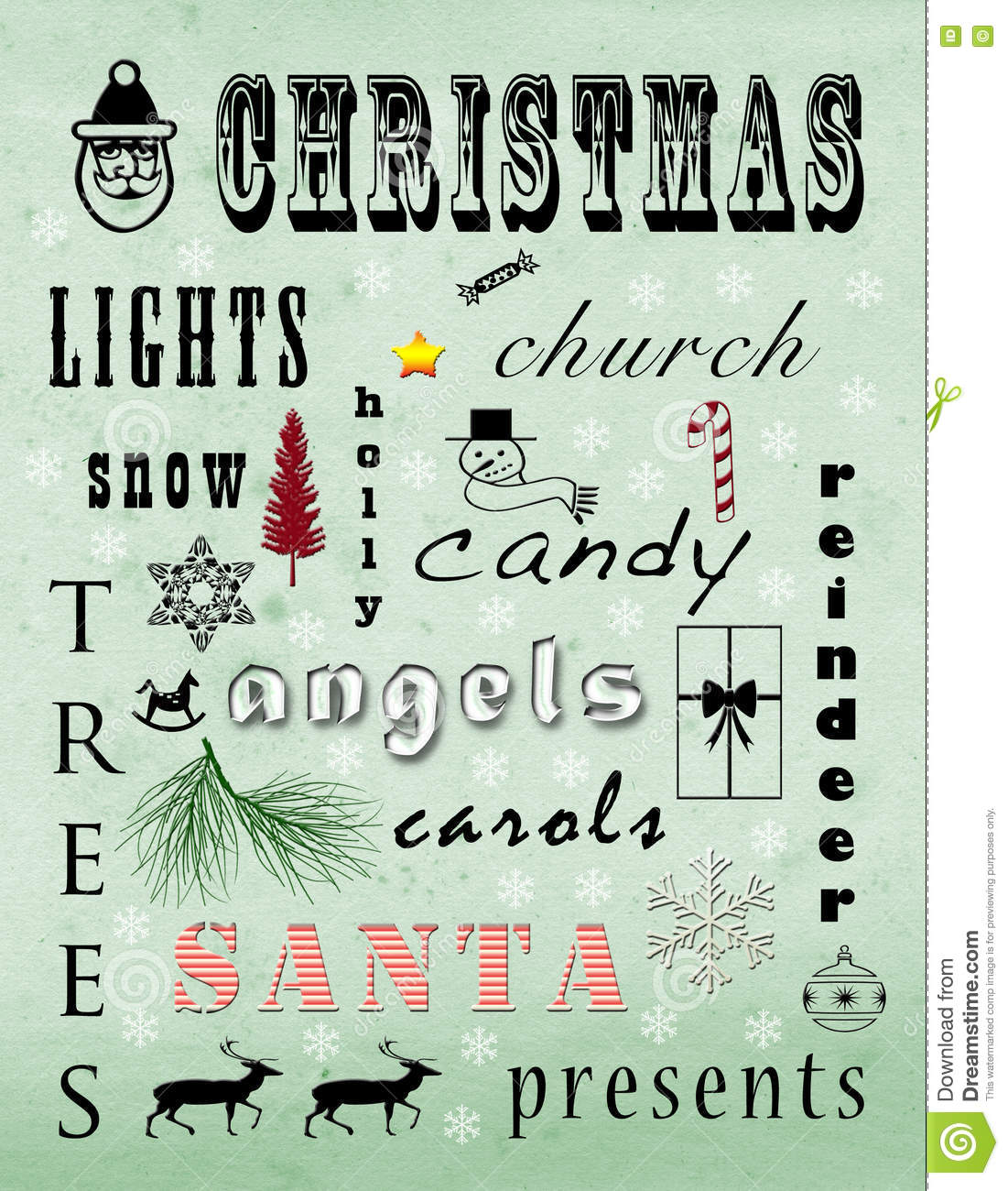 Christmas Words That Start With A.Christmas Stock Illustration Illustration Of Santa Church