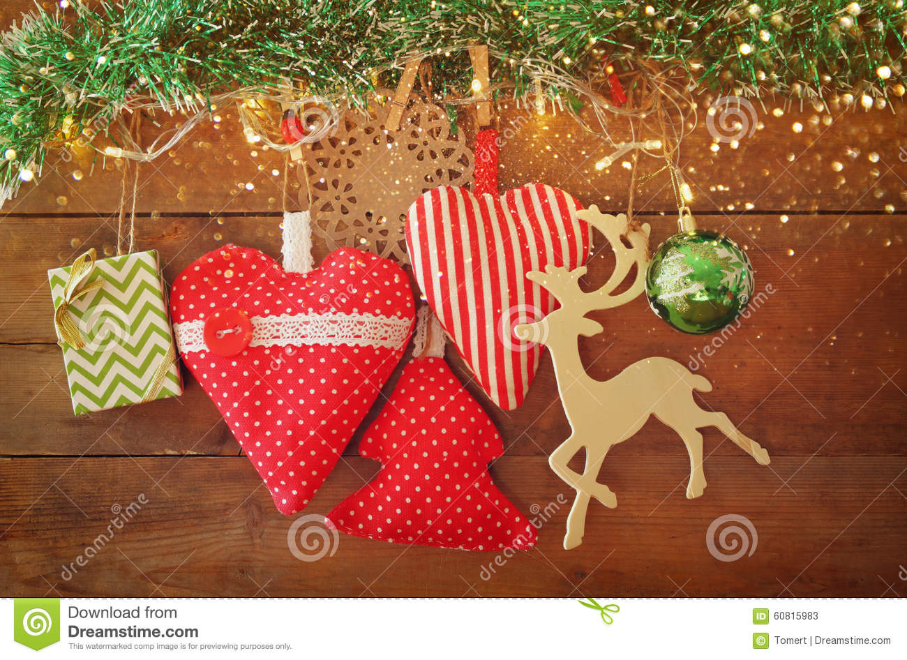 Retro Weihnachtsbilder.Christmas Image Of Fabric Red Hearts And Tree Wooden Reindeer And