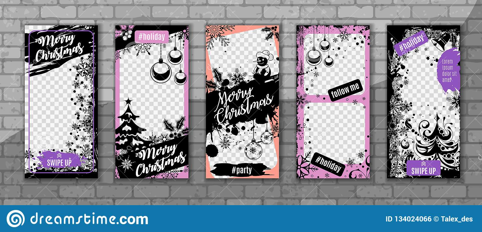 a3b3f9aec27 Set Christmas and New Year Instagram Stories Templates with transparent  photo frames and Christmas tree on brick seamless pattern for social  network. ...
