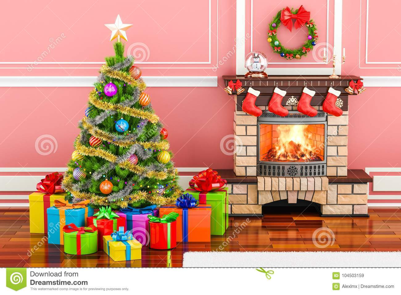 Christmas interior with fireplace, Christmas tree and gift boxes