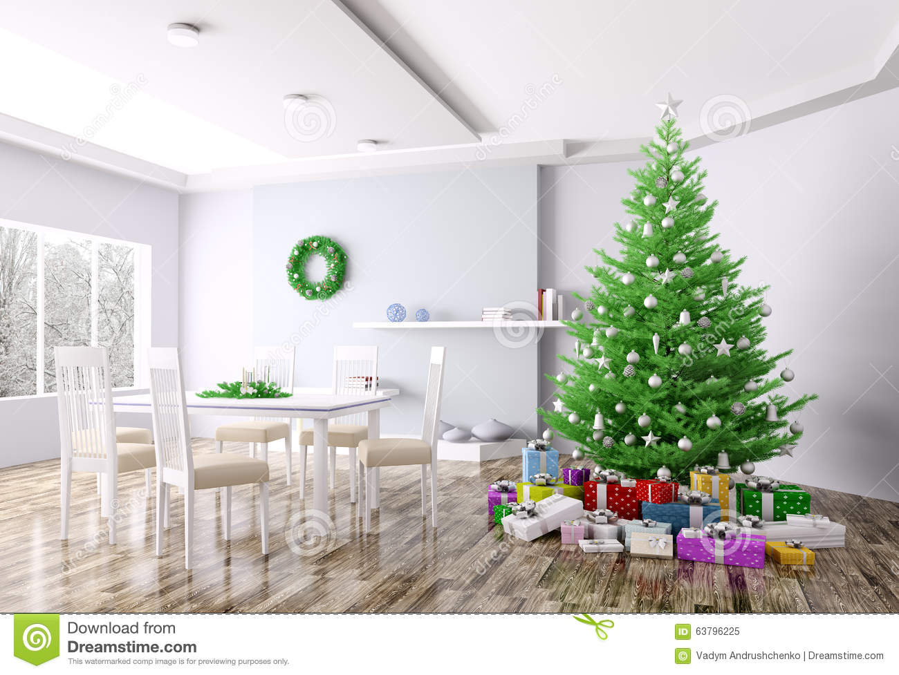 Christmas interior of living room 3d rendering