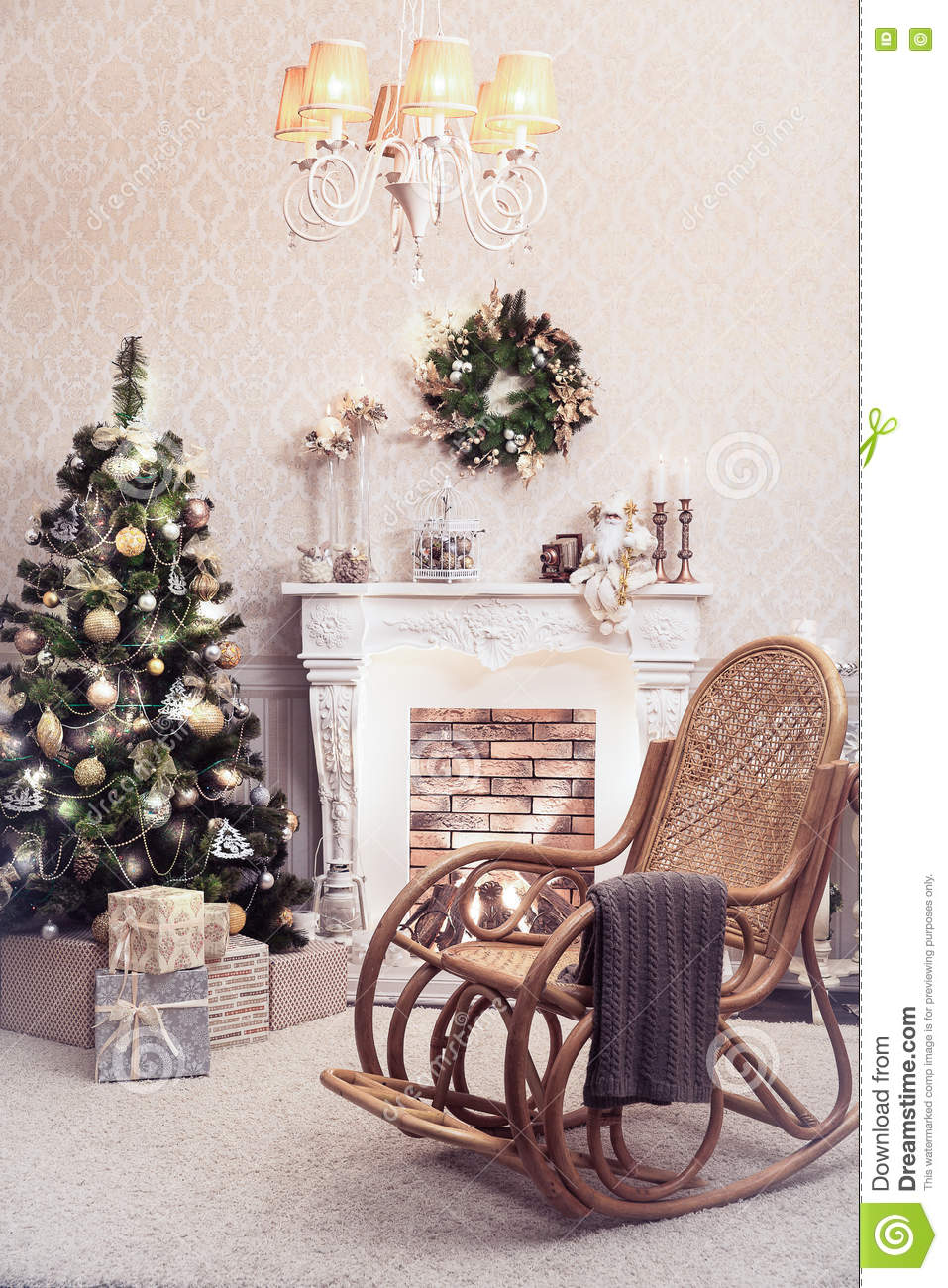 Superb Christmas Interior Of Living Room Old Rocking Chair At The Machost Co Dining Chair Design Ideas Machostcouk