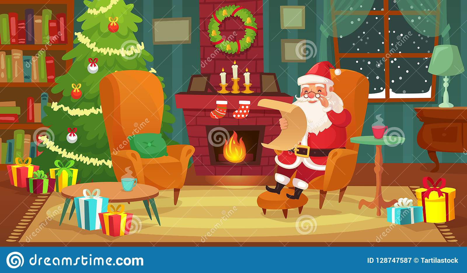 Christmas Fireplace Scene Clipart.Christmas Interior Santa Claus Winter Holiday Decorated