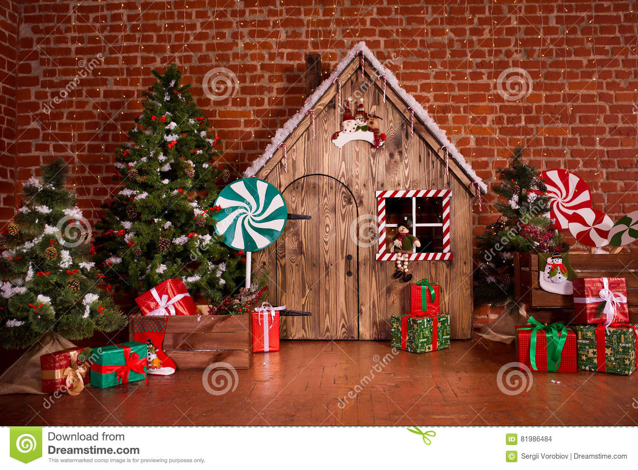 christmas interior with wooden house candy tree and