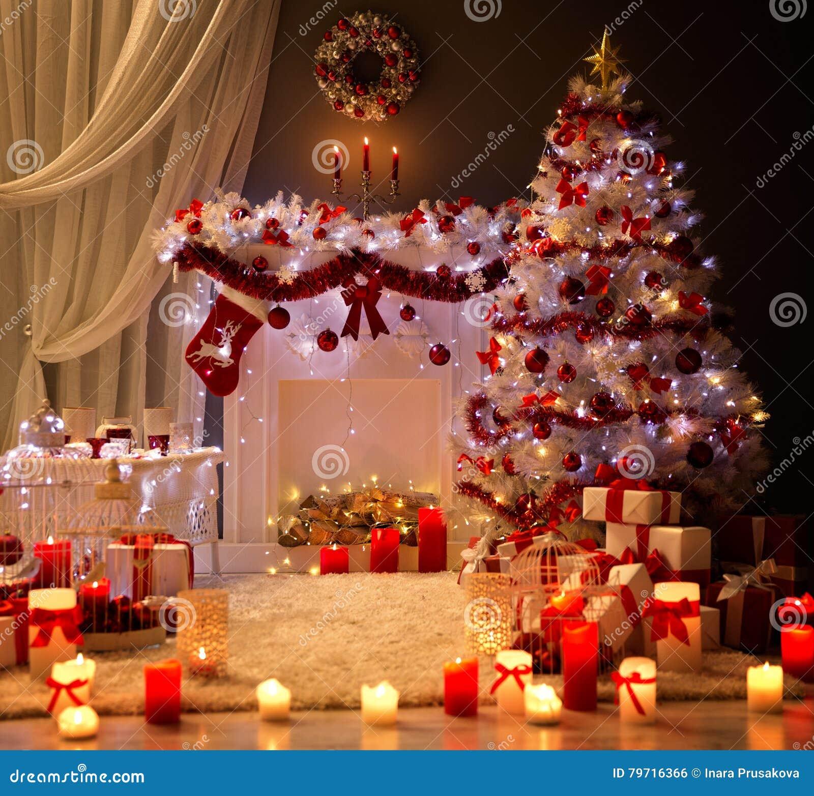 Christmas Interior, Xmas Tree Fireplace Light, Decorated Room