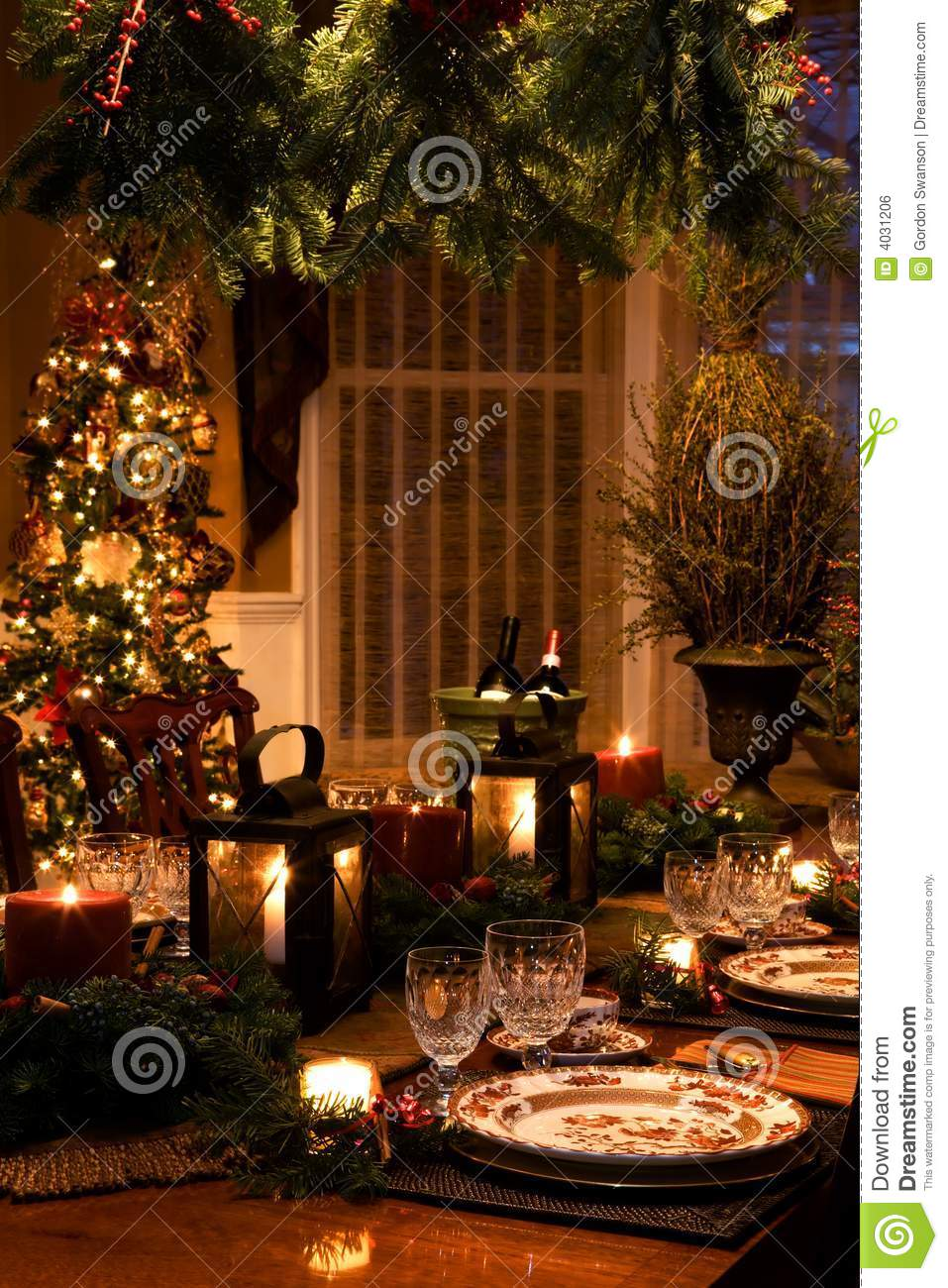 Christmas Interiors Stock Photo Image Of Decorate Dinner