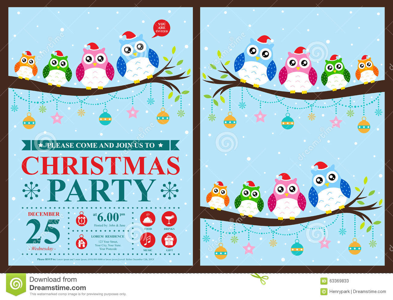 christmas invitation card stock vector image  christmas invitation card