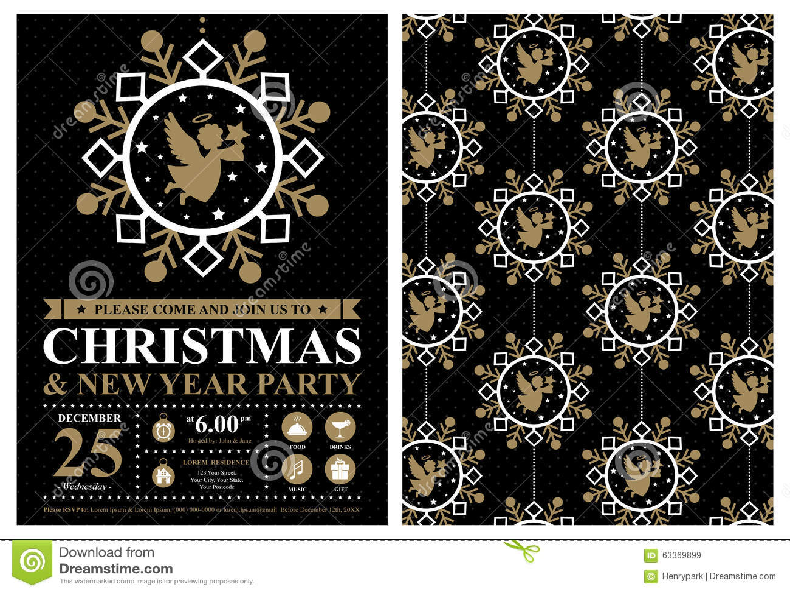 Christmas Invitation Card Stock Vector Illustration Of