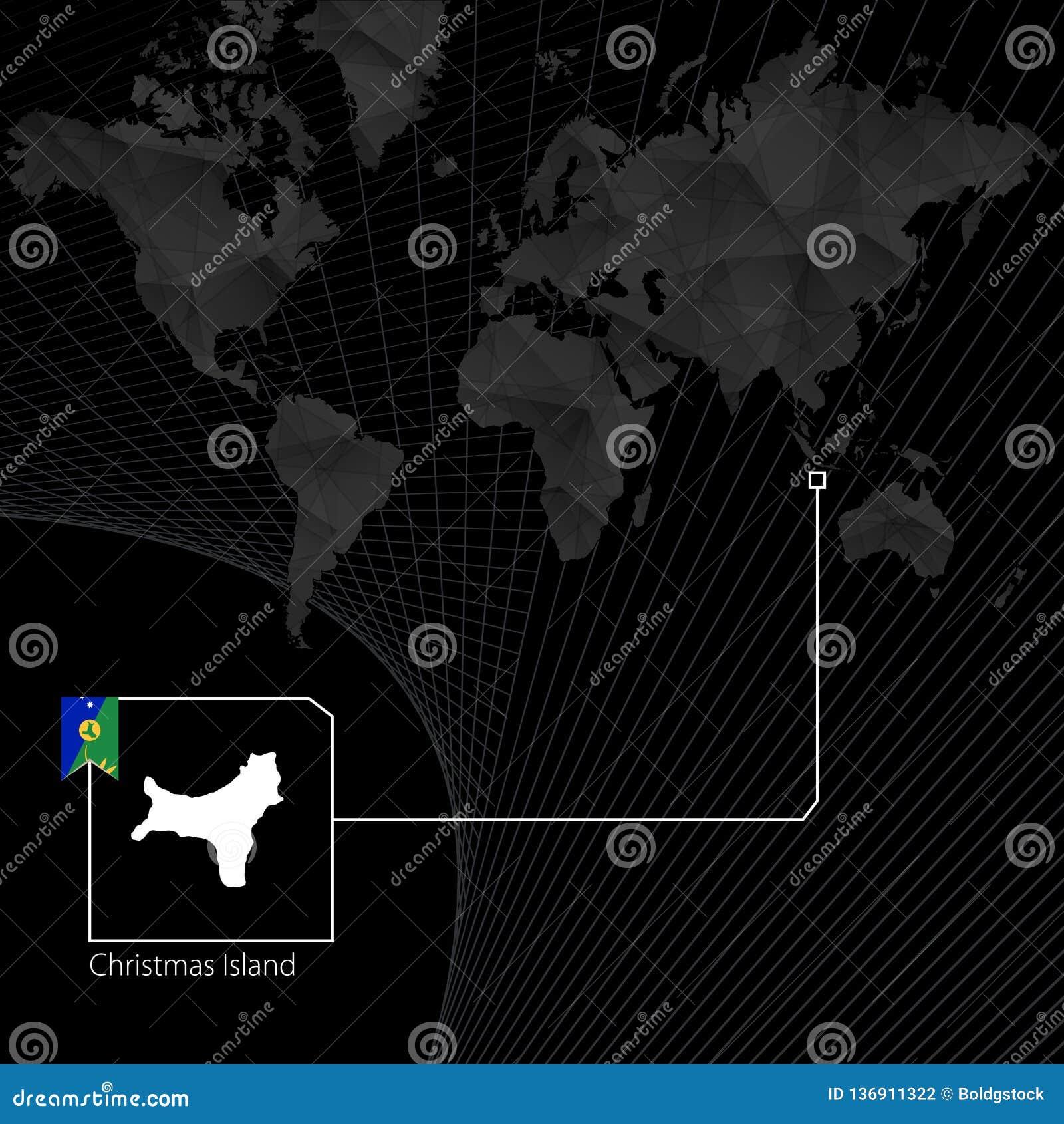 Christmas Island On Black World Map Map And Flag Of Christmas