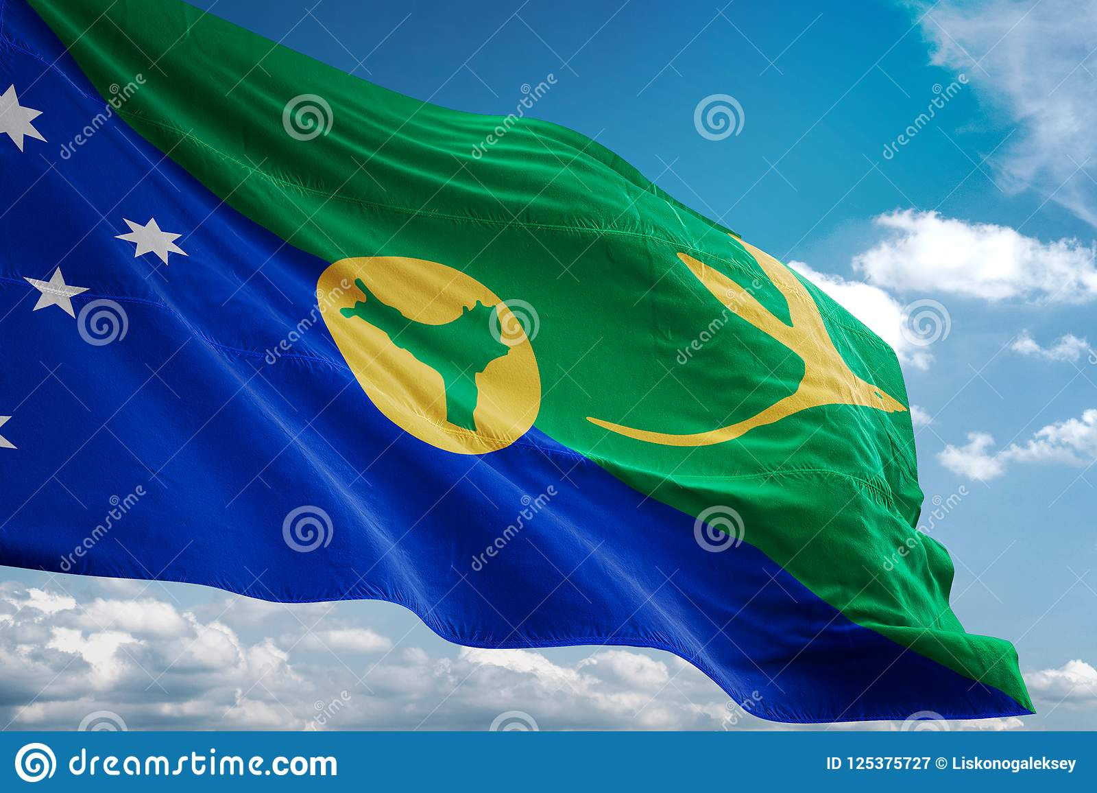Christmas Island National Flag Waving Blue Sky Background Realistic 3d Illustration Stock ...
