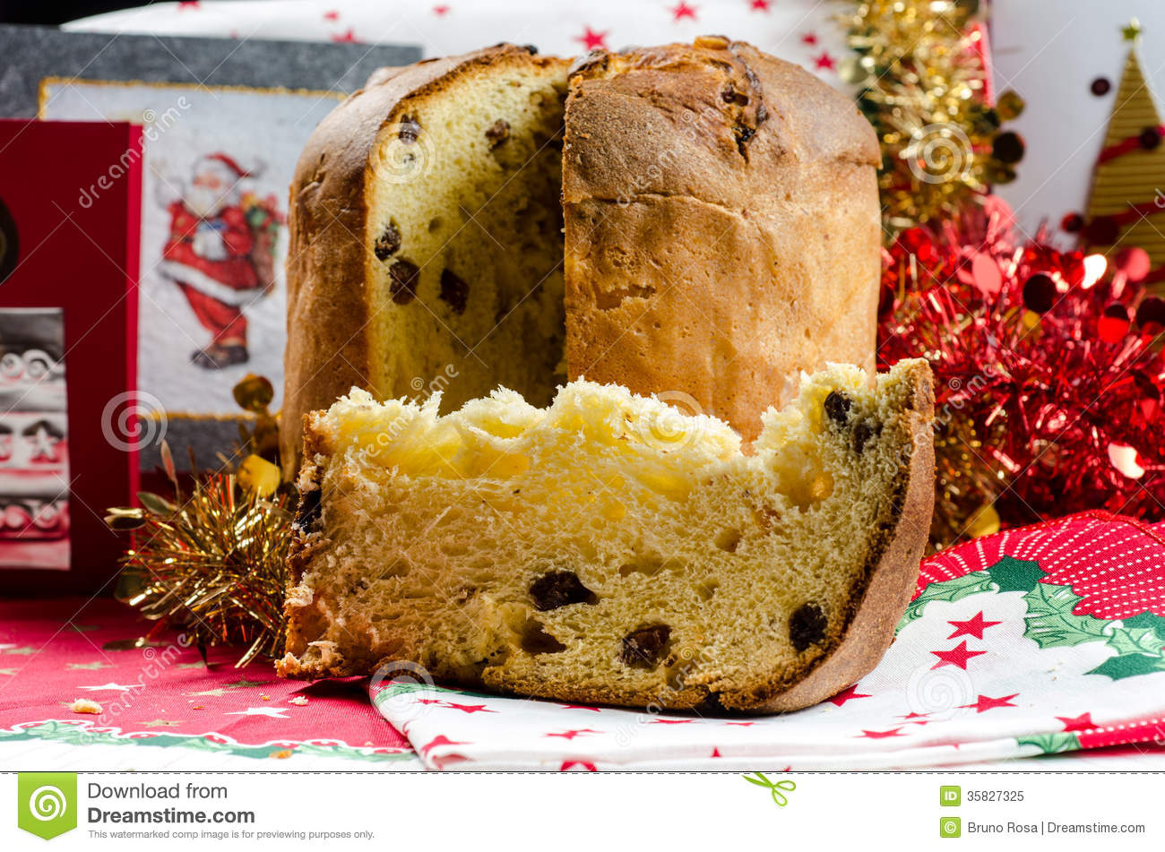 christmas italian cake called panettone on traditional dinner table with decorations - Italian Christmas Table Decorations