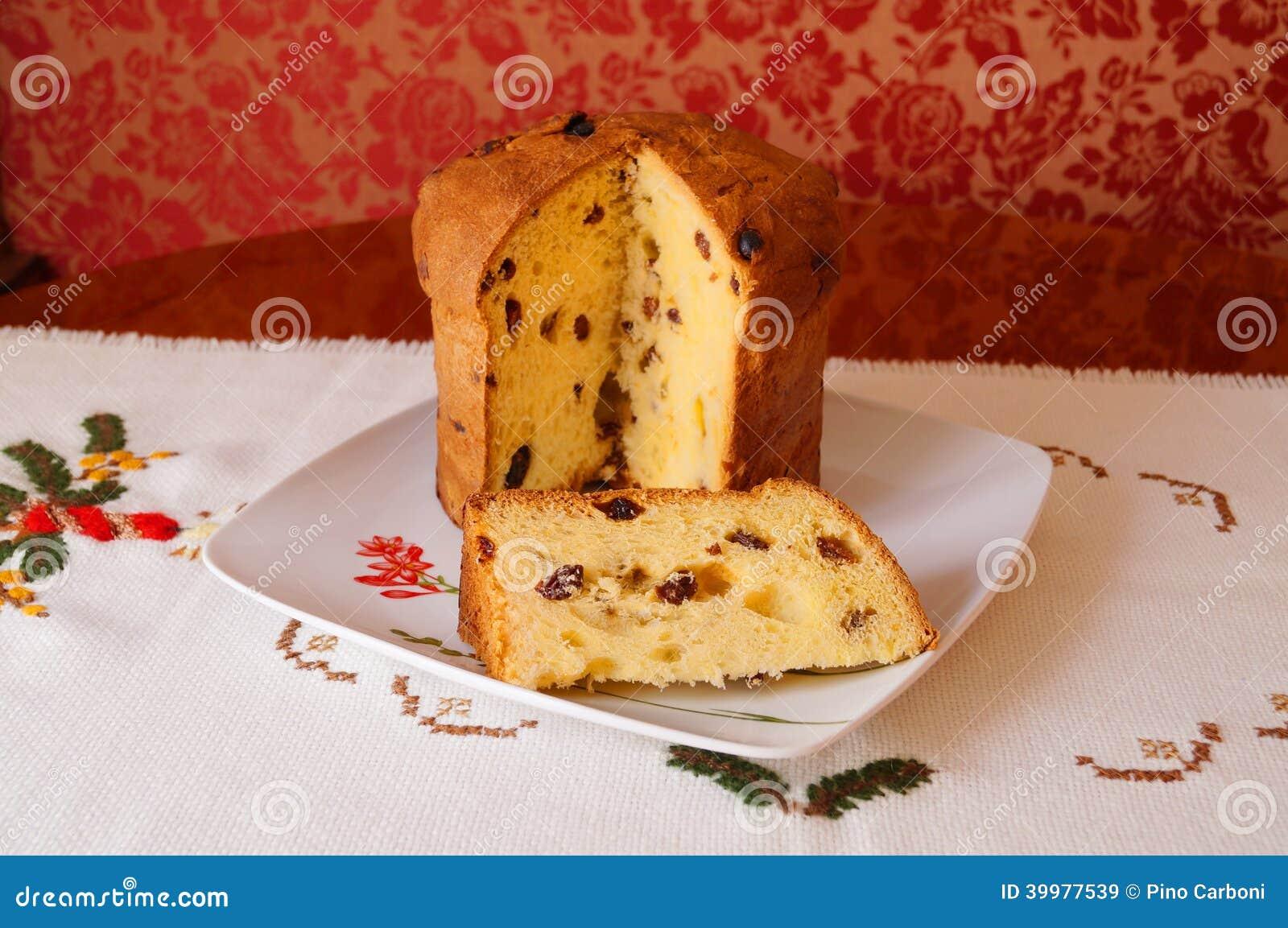 Italian Fruit Cake Recipes: Christmas Italian Fruit-cake Panettone Partially S Stock