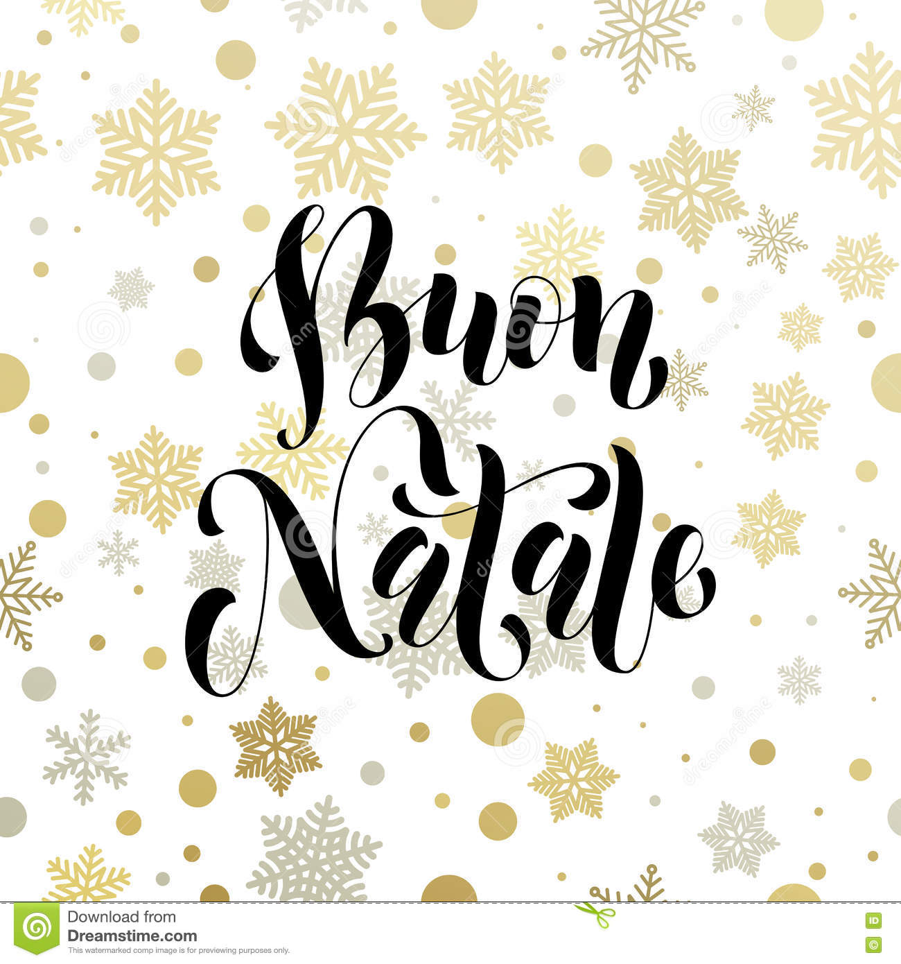 Christmas In Italy Buon Natale Golden Greeting Card Lettering Stock