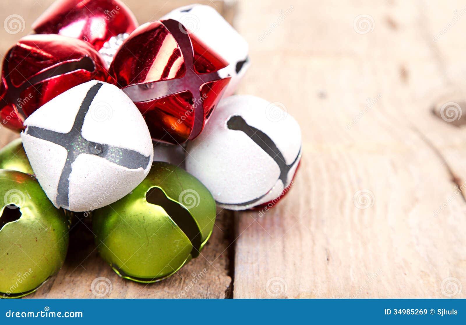 Christmas Jingle Bells On A Plank Royalty Free Stock