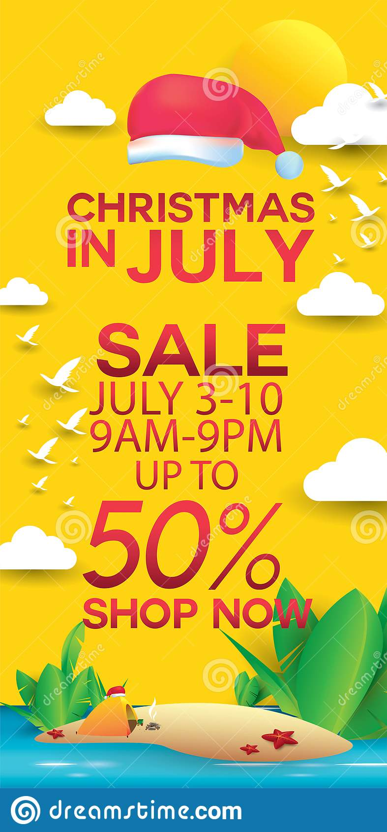 Christmas In August Poster.Christmas In July Stock Illustration Illustration Of