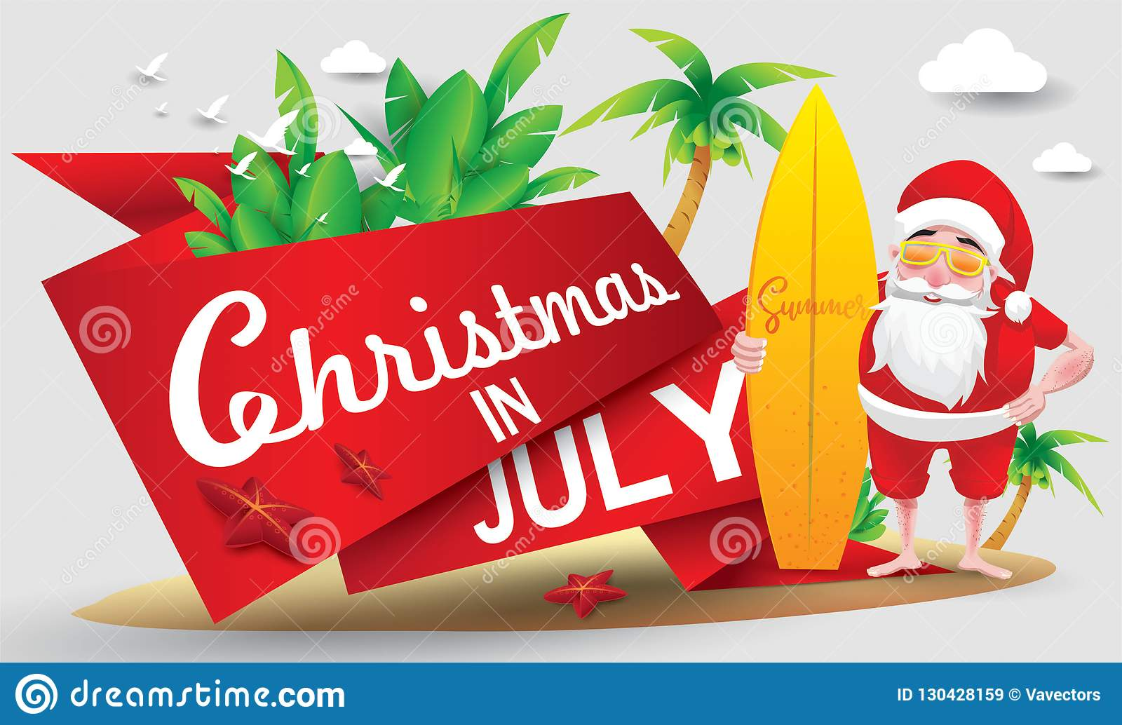 Christmas In August Poster.Christmas In July Stock Vector Illustration Of Beach