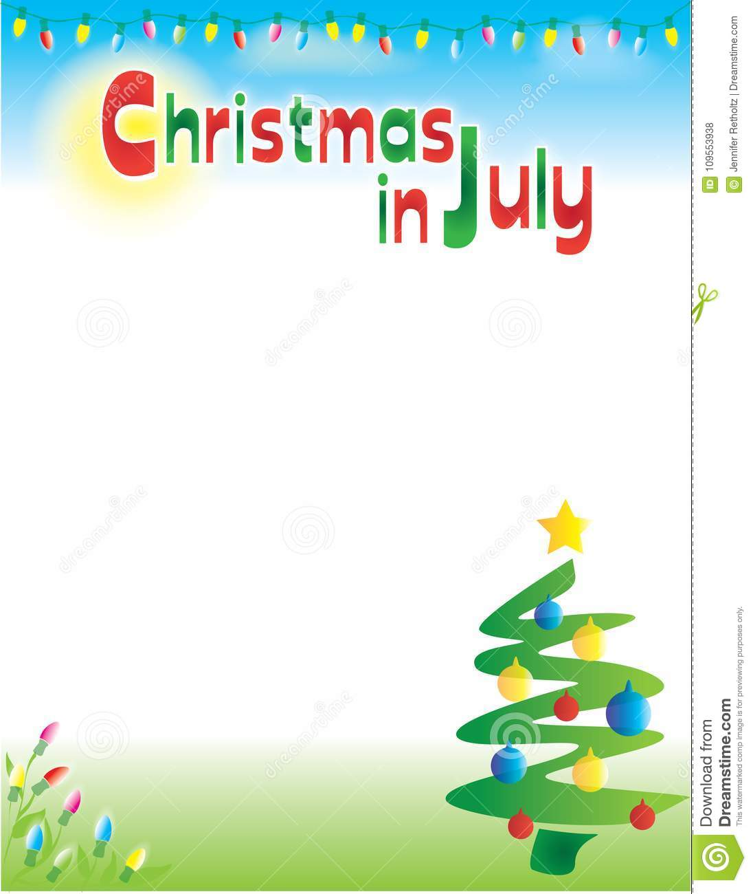 Christmas In July Free Graphics.Christmas In July Postcard Flyer Background Template Stock